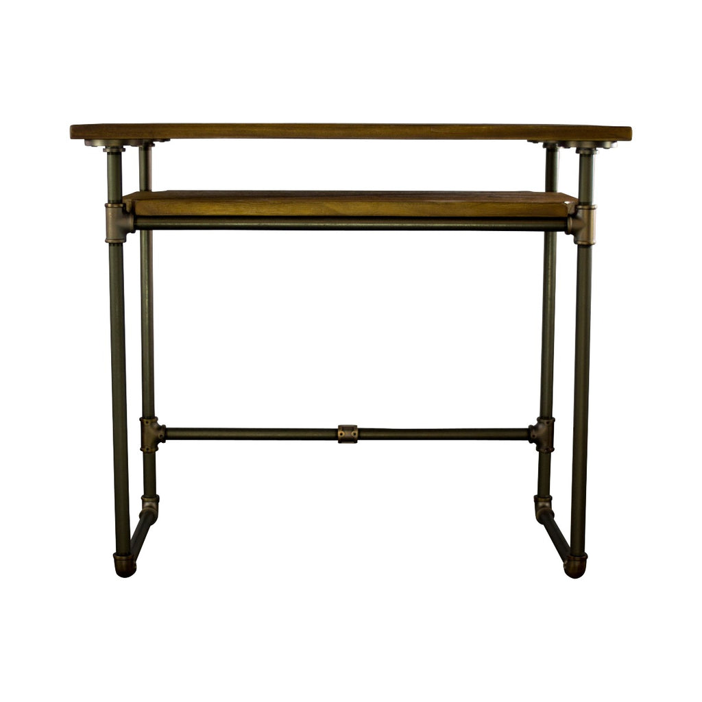 Furniture Pipeline Berkeley Industrial Mid-Century Writing Desk, Rustic Bronze Combo with Light Brown Stained Wood - Pot Racks Plus