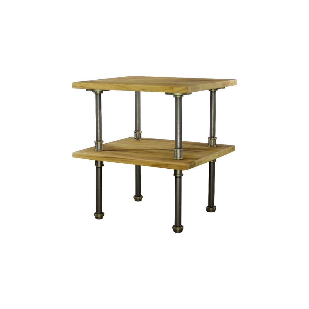 Furniture Pipeline Corvallis Industrial Chic Side Table, Brushed Brass Gray Steel Combo with Natural Stained Wood - Pot Racks Plus