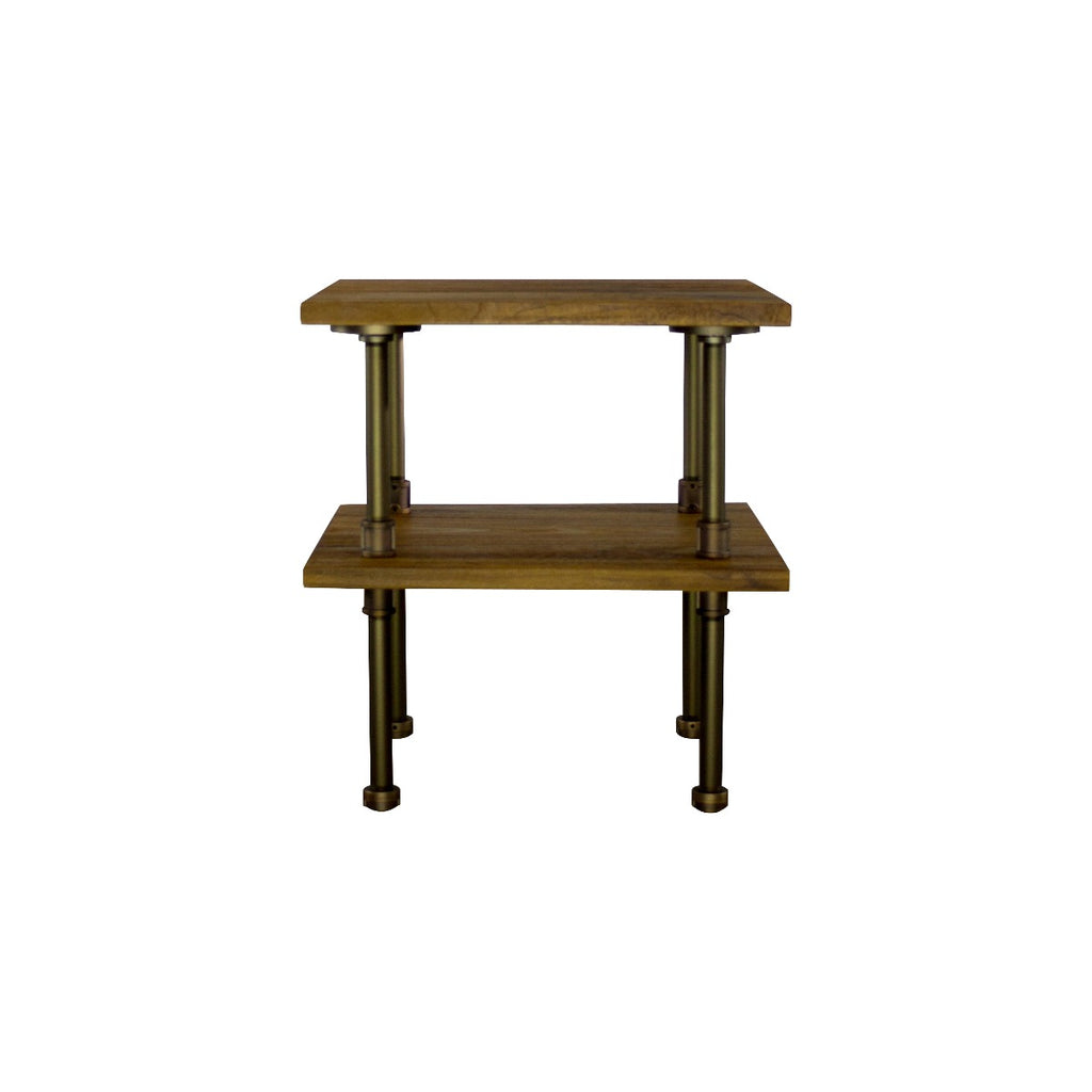 Furniture Pipeline Corvallis Industrial Chic Side Table, Rustic Bronze Combo with Light Brown Stained Wood - Pot Racks Plus