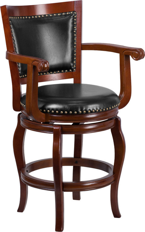 26'' High Cherry Wood Counter Height Stool with Arms, Panel Back and Black LeatherSoft Swivel Seat