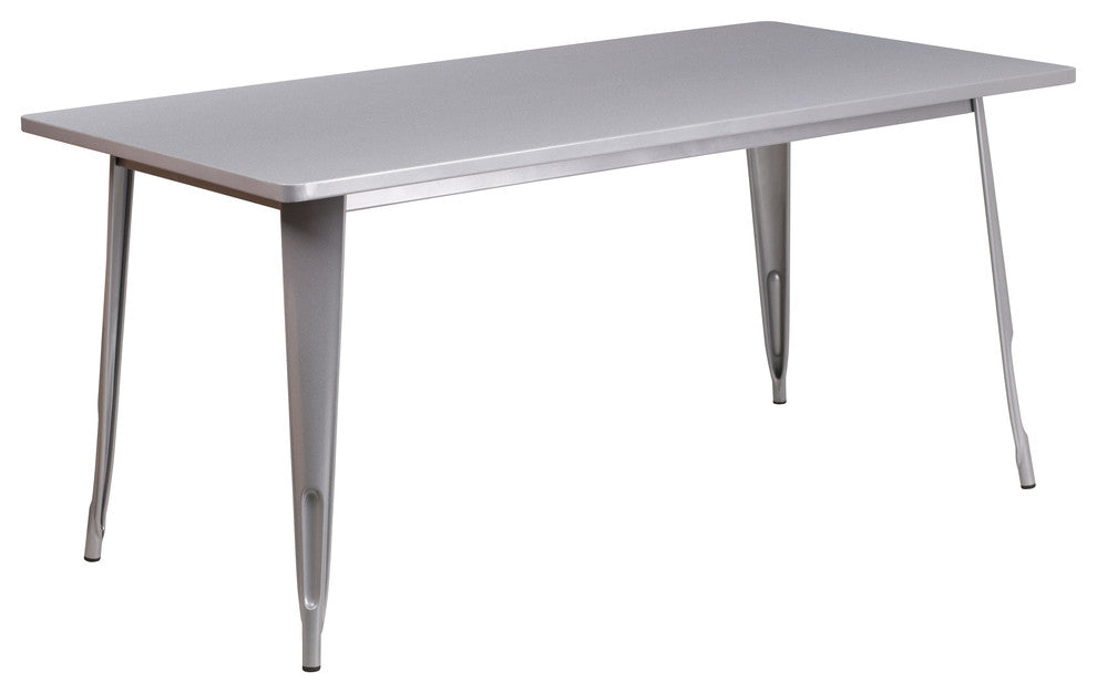 "Commercial Grade 31.5"" x 63"" Rectangular Silver Metal Indoor-Outdoor Table"