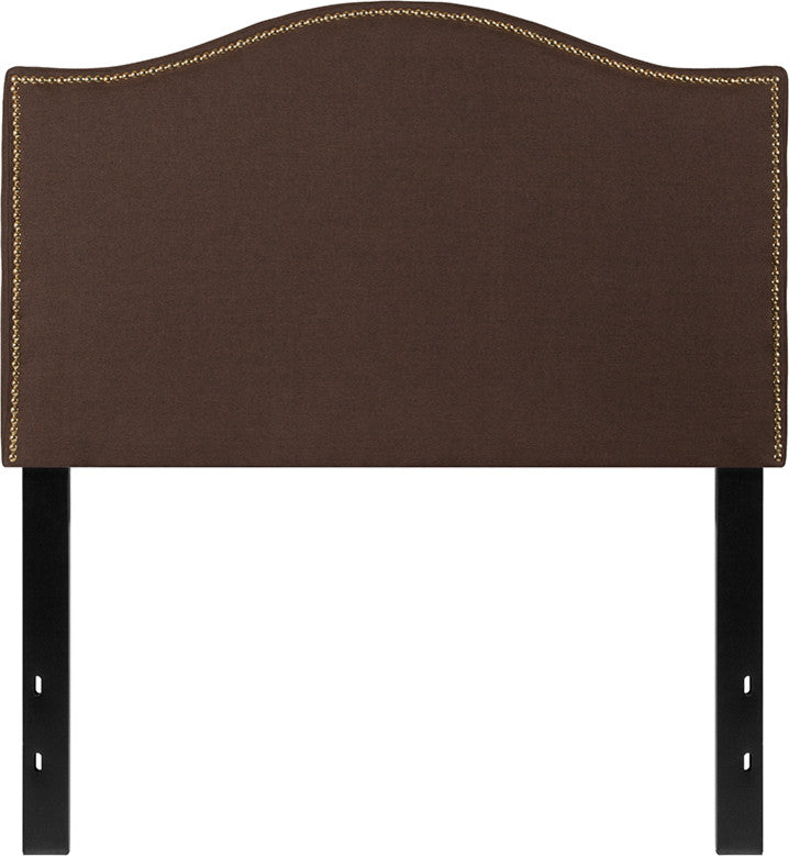 Lexington Upholstered Twin Size Headboard with Accent Nail Trim in Dark Brown Fabric