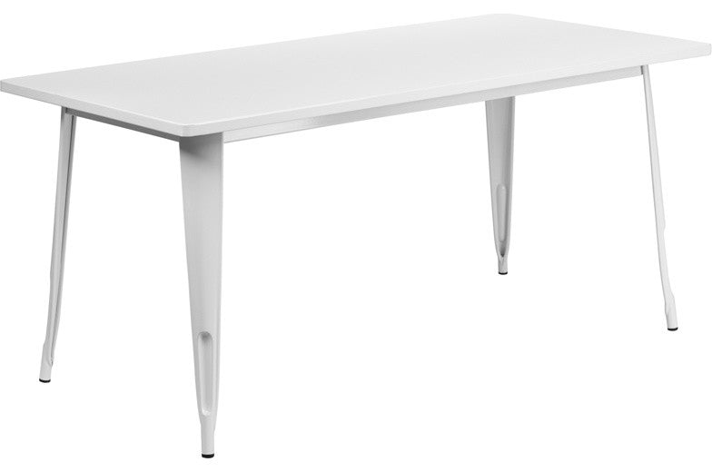 "Commercial Grade 31.5"" x 63"" Rectangular White Metal Indoor-Outdoor Table"