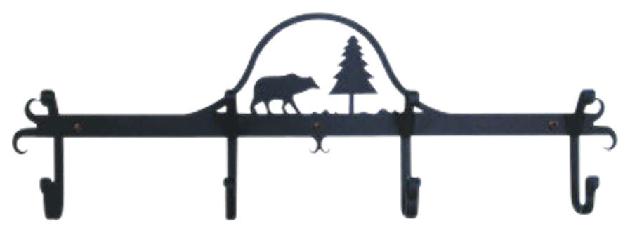 "Coat Rack-4 Hooks, 24"" x8 1/2"" x2 1/2"", Bear And Pine"