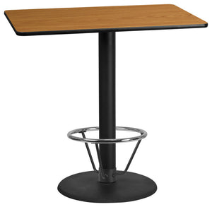 30'' x 48'' Rectangular Natural Laminate Table Top with 24'' Round Bar Height Table Base and Foot Ring