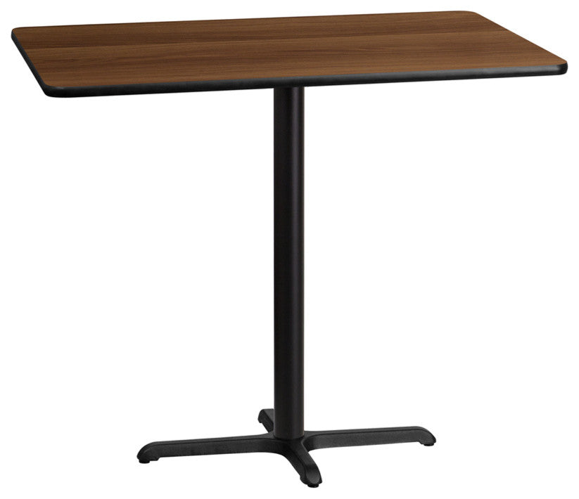 30'' x 48'' Rectangular Walnut Laminate Table Top with 23.5'' x 29.5'' Bar Height Table Base