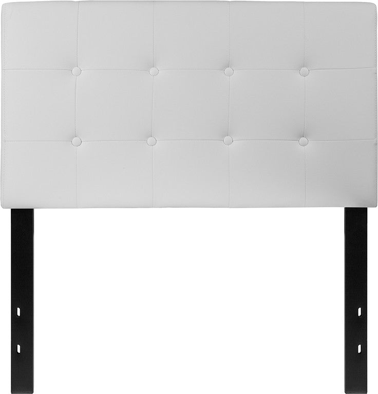 Lennox Tufted Upholstered Twin Size Headboard in White Vinyl