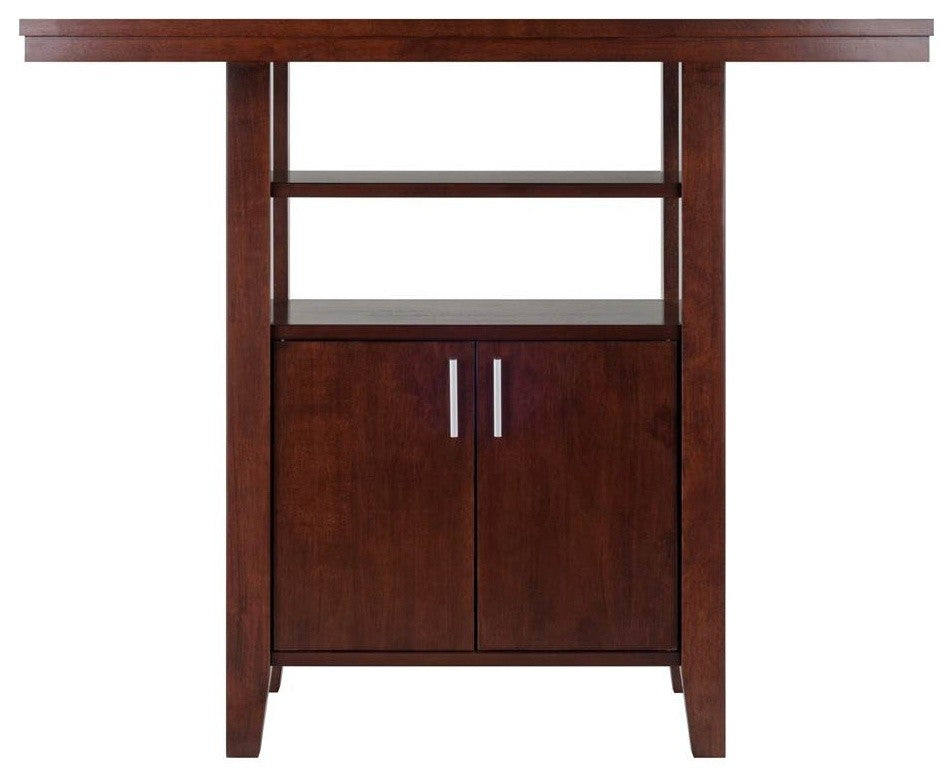 Albany High Table with Cabinet and Shelf in Walnut Finish - Pot Racks Plus