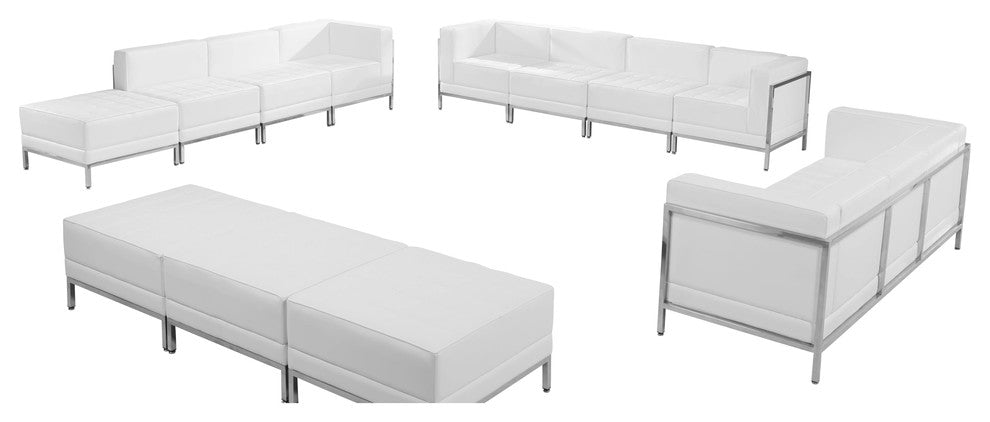 HERCULES Imagination Series Melrose White LeatherSoft Sofa, Lounge & Ottoman Set, 12 Pieces