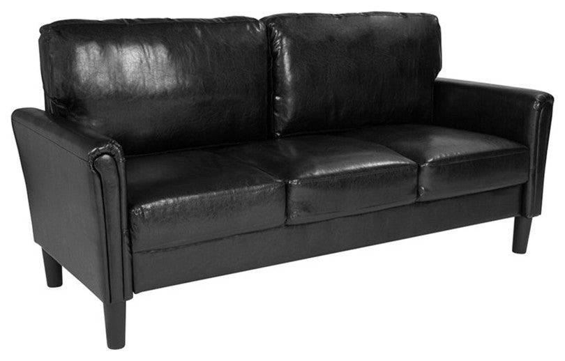 Bari Upholstered Sofa in Black LeatherSoft