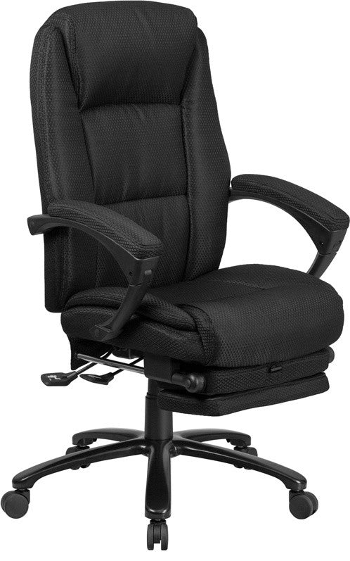 High Back Black Fabric Executive Reclining Ergonomic Swivel Office Chair with Comfort Coil Seat Springs and Arms