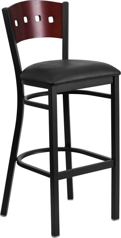 HERCULES Series Black 4 Square Back Metal Restaurant Barstool - Mahogany Wood Back, Black Vinyl Seat