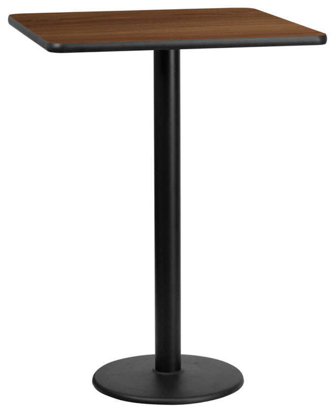 30'' Square Walnut Laminate Table Top with 18'' Round Bar Height Table Base