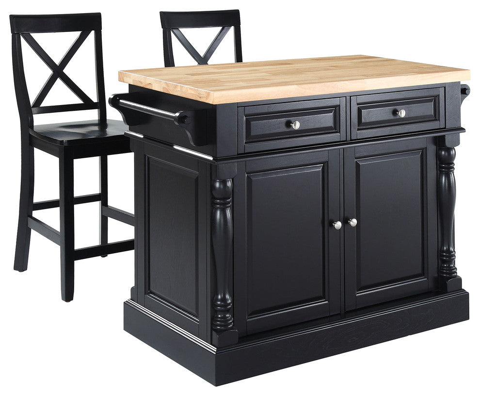 "Butcher Block Top Kitchen Island, Black Finish With 24"" Blackx-Back Stools - Pot Racks Plus"
