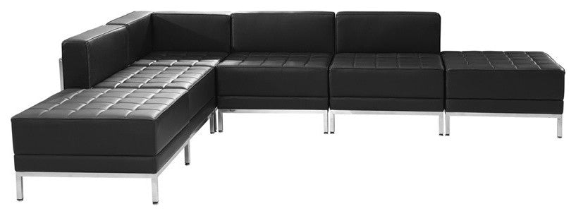 HERCULES Imagination Series Black LeatherSoft Sectional Configuration, 6 Pieces