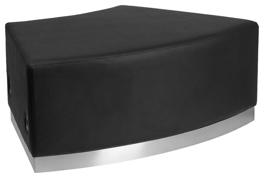 HERCULES Alon Series Black LeatherSoft Backless Convex Chair with Brushed Stainless Steel Base