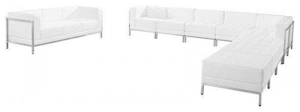 HERCULES Imagination Series Melrose White LeatherSoft Sectional & Sofa Set, 10 Pieces