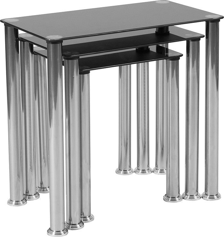 Riverside Collection Black Glass Nesting Tables with Stainless Steel Legs