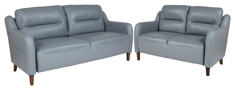 Newton Hill Upholstered Bustle Back Loveseat and Sofa Set in Gray LeatherSoft