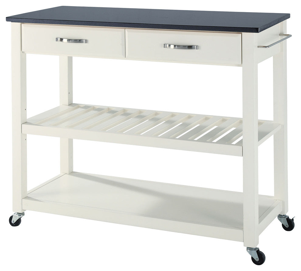 Solid Black Granite Top Kitchen Cart, Island, White - Pot Racks Plus