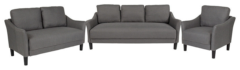 Asti 3 Piece Upholstered Set in Dark Gray Fabric