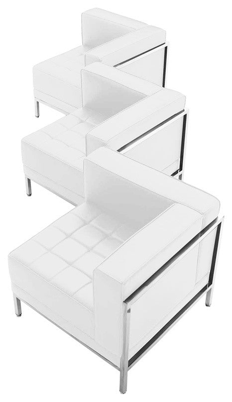 HERCULES Imagination Series Melrose White LeatherSoft 3 Piece Corner Chair Set