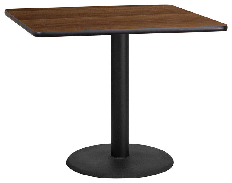 36'' Square Walnut Laminate Table Top with 24'' Round Table Height Base