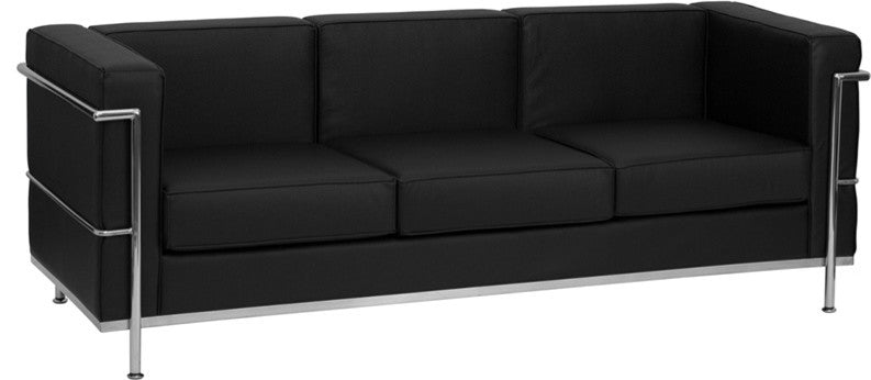 HERCULES Regal Series Contemporary Black LeatherSoft Sofa with Encasing Frame