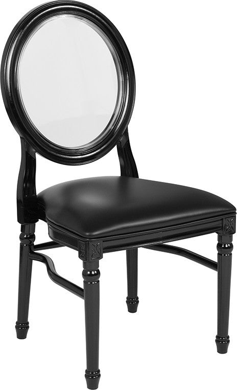 HERCULES Series 900 lb. Capacity King Louis Chair with Transparent Back, Black Vinyl Seat and Black Frame
