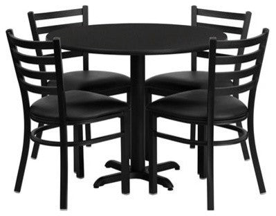 36'' Round Black Laminate Table Set with X-Base and 4 Ladder Back Metal Chairs - Black Vinyl Seat