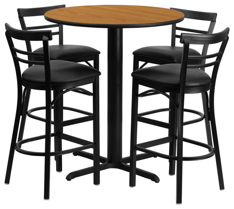 24'' Round Natural Laminate Table Set with X-Base and 4 Two-Slat Ladder Back Metal Barstools - Black Vinyl Seat