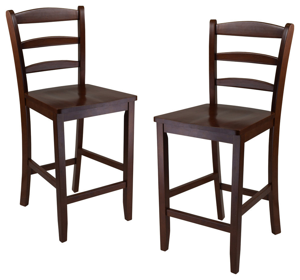 "24"" Counter Ladder Back Stool, Set of 2 - Pot Racks Plus"