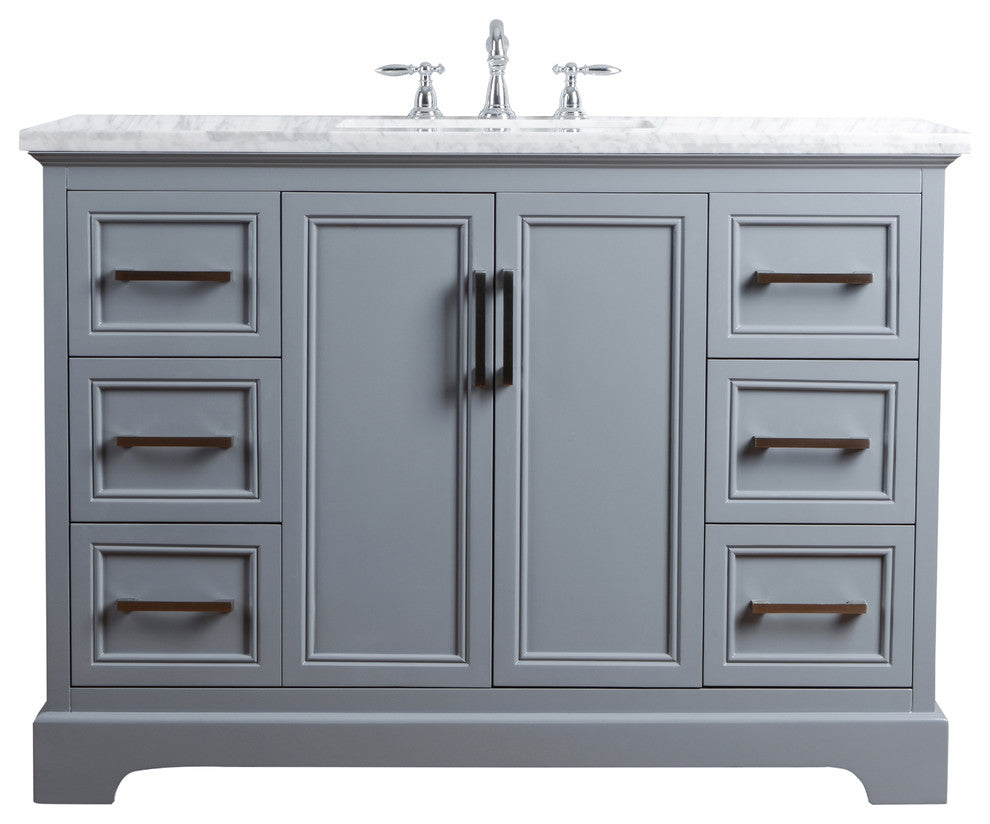 "Ariane 48"" Slate Gray Single Vanity Cabinet Single Bathroom Sink - Pot Racks Plus"