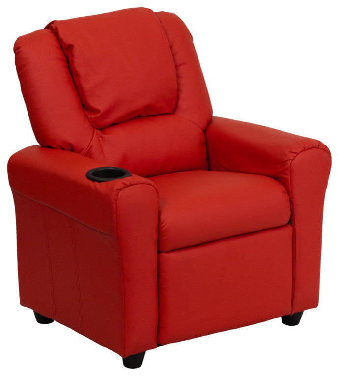 Flash Furniture   Contemporary Red Vinyl Kids Recliner with Cup Holder and Headrest - Pot Racks Plus