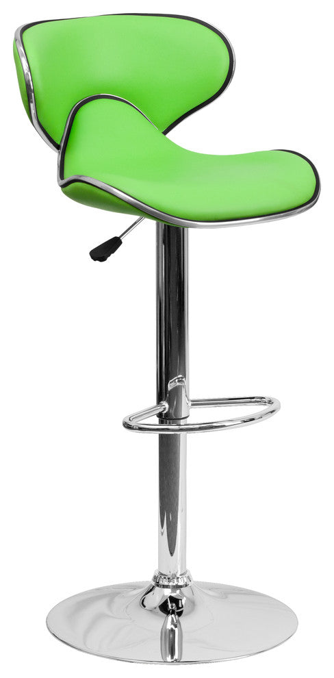 Contemporary Cozy Mid-Back Green Vinyl Adjustable Height Barstool with Chrome Base
