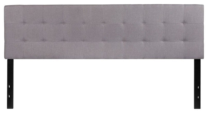 Bedford Tufted Upholstered King Size Headboard in Light Gray Fabric
