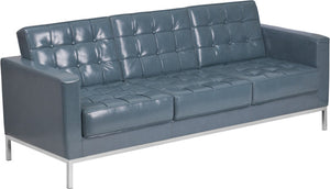 HERCULES Lacey Series Contemporary Gray LeatherSoft Sofa with Stainless Steel Frame