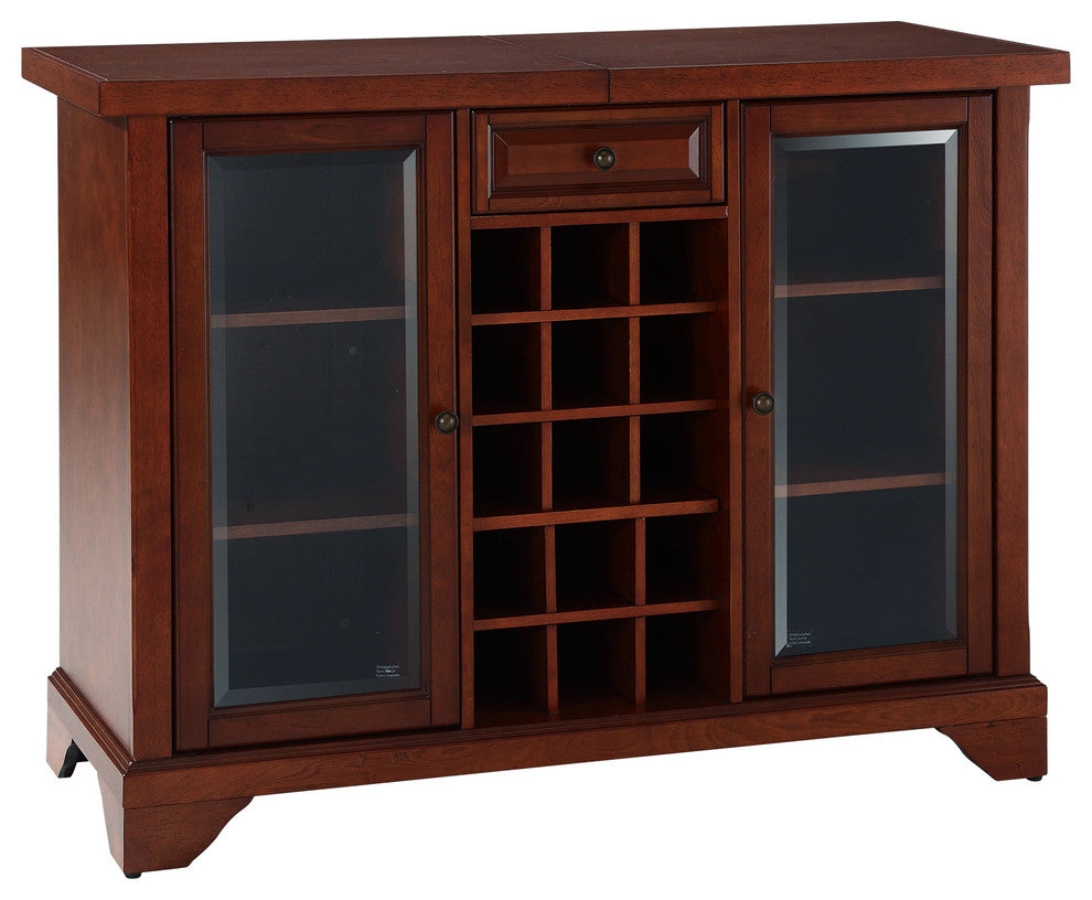 LaFayette Sliding Top Bar Cabinet, Vintage Mahogany Finish - Pot Racks Plus