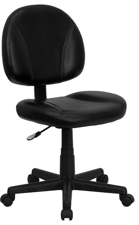 Mid-Back Black LeatherSoft Swivel Ergonomic Task Office Chair with Back Depth Adjustment