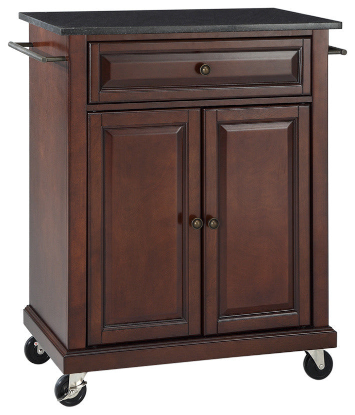 Solid Black Granite Top Portable Kitchen Cart, Island, Vintage Mahogany Finish - Pot Racks Plus