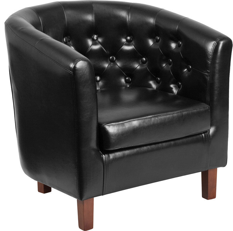 HERCULES Cranford Series Black LeatherSoft Tufted Barrel Chair