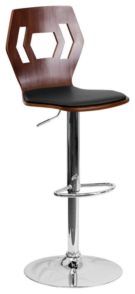 Adjustable Bar Stool | Counter Height Wood Bar Stool with Back