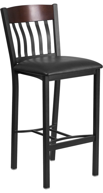 Eclipse Series Vertical Back Black Metal and Walnut Wood Restaurant Barstool with Black Vinyl Seat