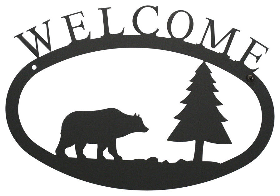 Welcome Sign, Smallall, Bear And Pine