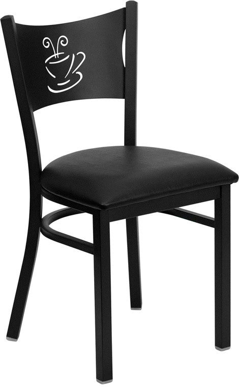 HERCULES Series Black Coffee Back Metal Restaurant Chair - Black Vinyl Seat