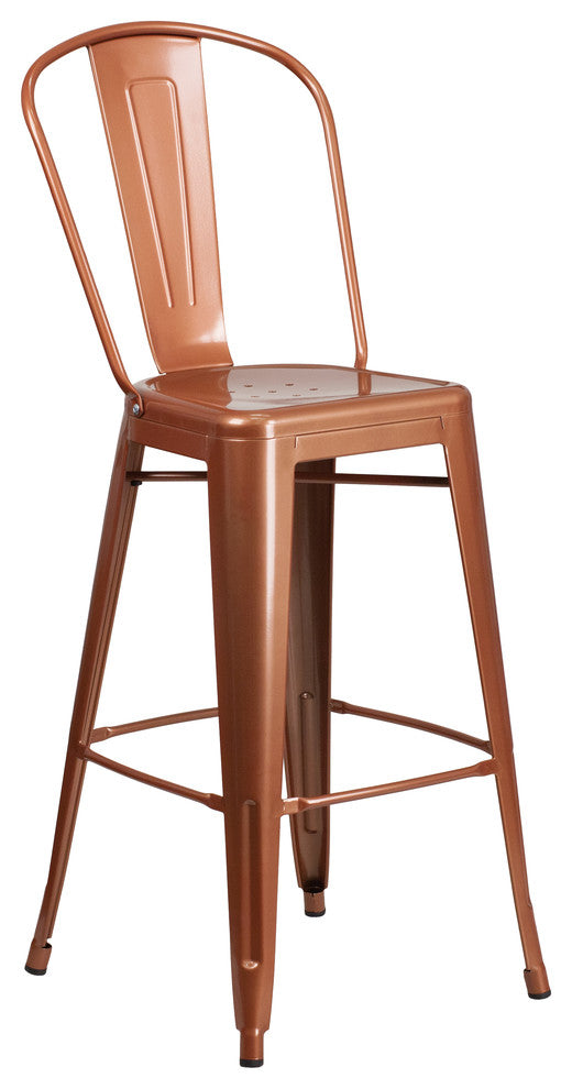 "Commercial Grade 30"" High Copper Metal Indoor-Outdoor Barstool with Back"