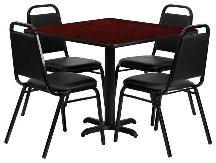 36'' Square Mahogany Laminate Table Set with X-Base and 4 Black Trapezoidal Back Banquet Chairs