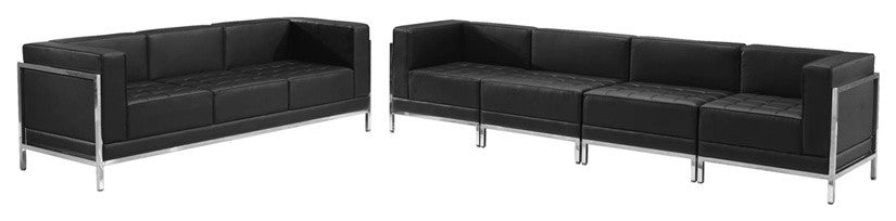 HERCULES Imagination Series Black LeatherSoft Sofa Set, 5 Pieces