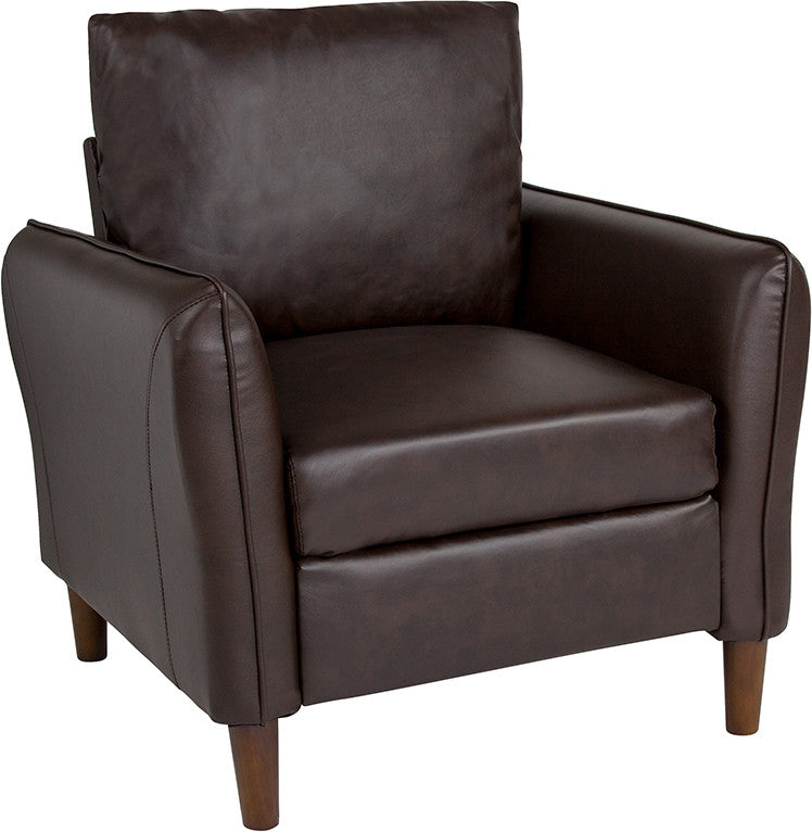 Milton Park Upholstered Plush Pillow Back Arm Chair in Brown LeatherSoft
