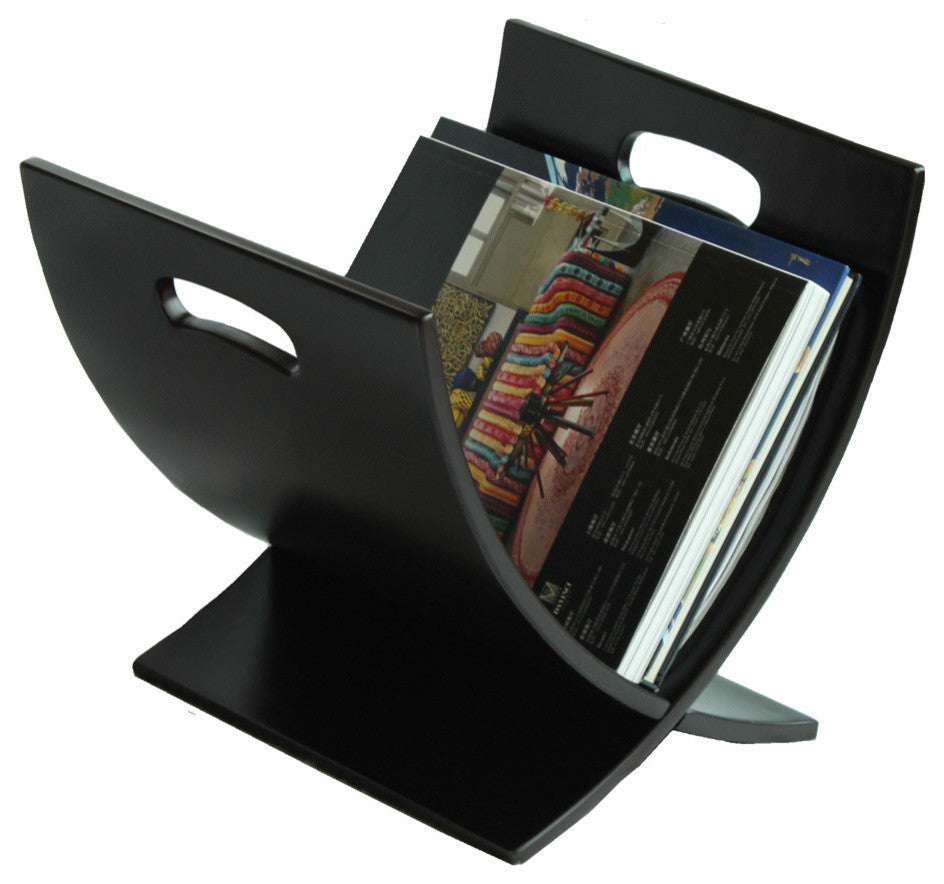 Contemporary Espresso Finish Wooden Magazine Rack - Pot Racks Plus